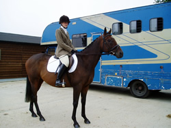 Dawn with Mal off to a dressage